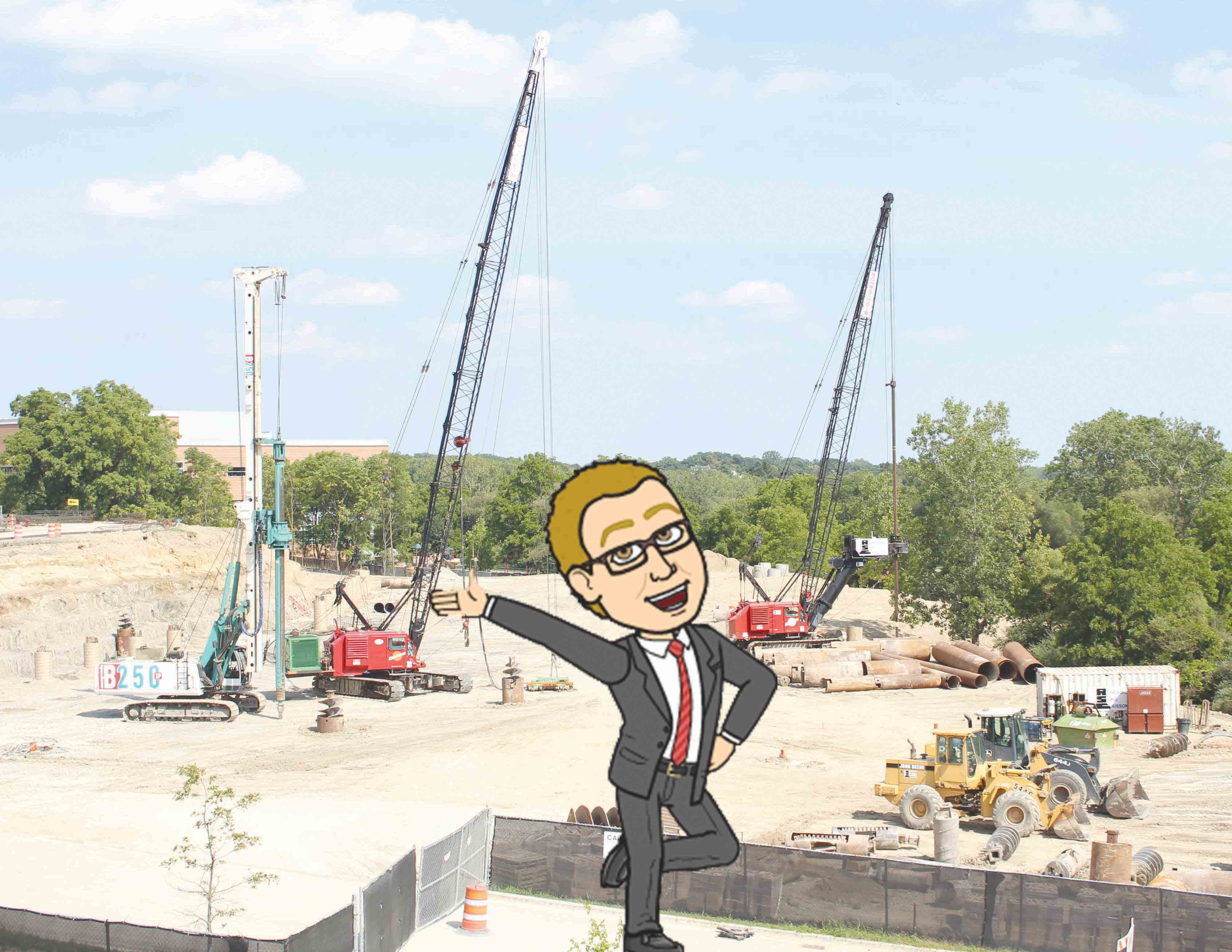 Construction is underway for the new Drew Carey Foundation Hall near Pioneer Drive.