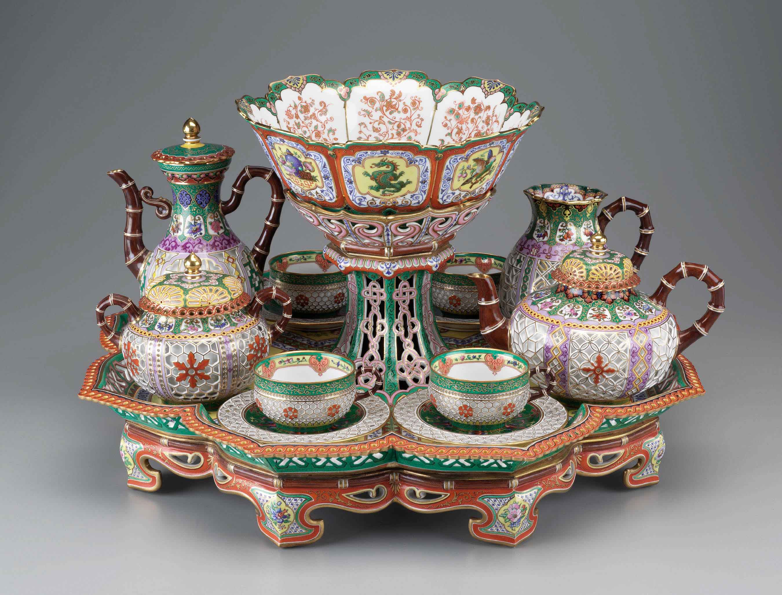 Pictured: Tea and Coffee Service, 1842–1843, Sèvres Porcelain Manufactory, designed by Hyacinthe Régnier, painted by Pierre Huard, hard paste porcelain, porcelain enamel, gold.