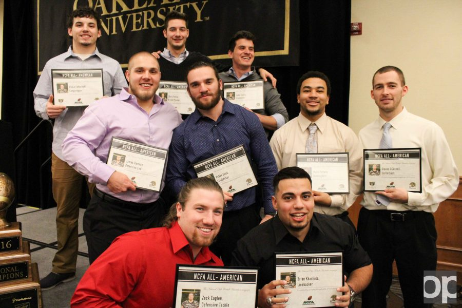 On Monday, Jan. 23, the football club at Oakland University celebrated its successful season with a banquet in the Oakland Center.