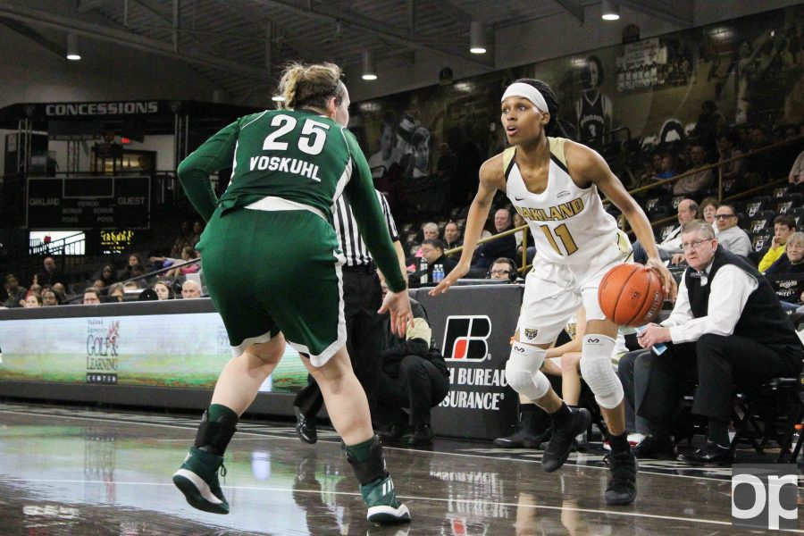 Hannah Little led Oakland with 17 points in her 38 minutes on the floor. Oakland lost to Cleveland State 74-62 on Friday, Jan. 20 at the O'rena.