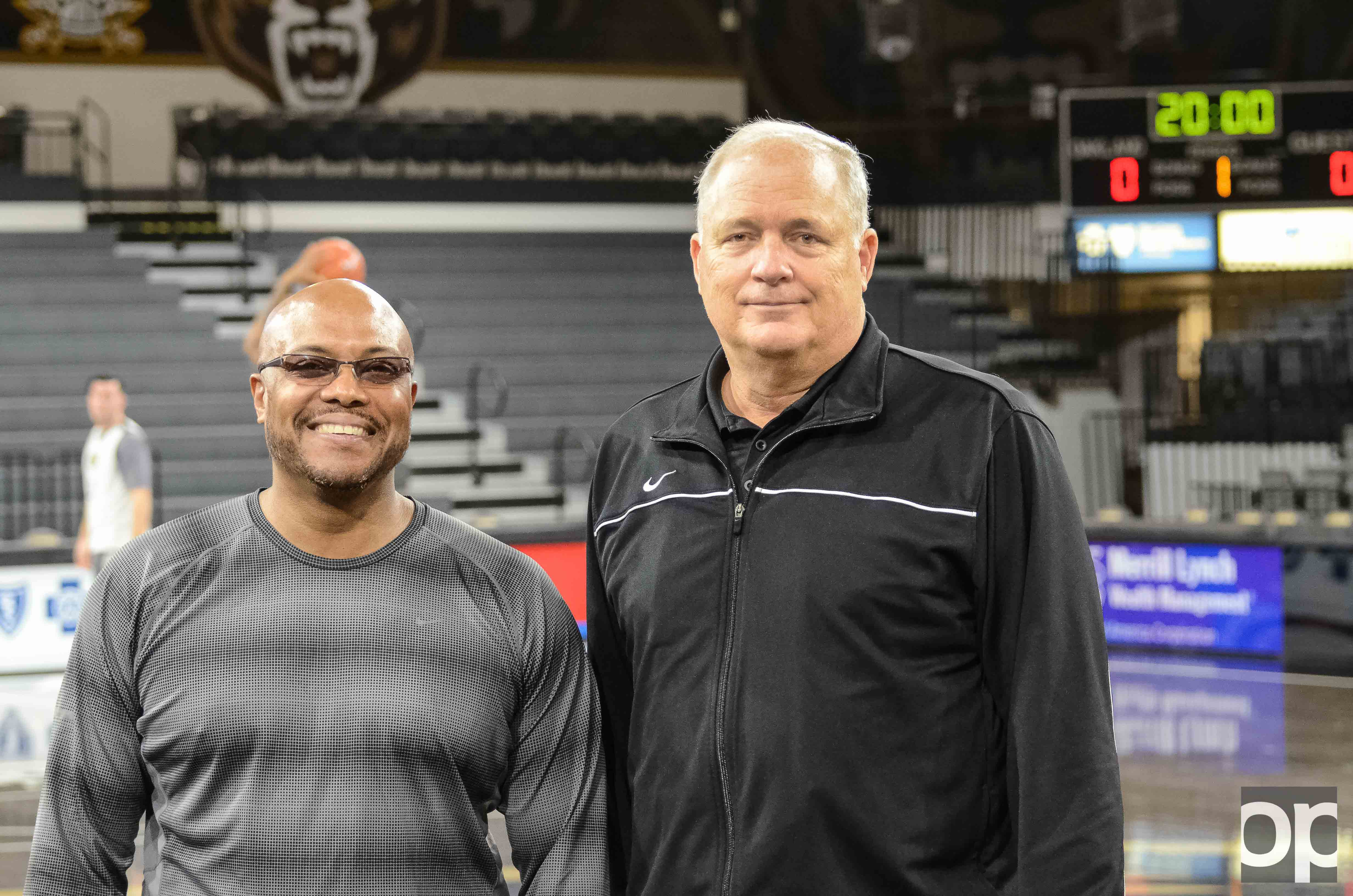 Assistant Coach Cornell Mann (left) and Associate Head Coach Dan Hipsher (right) joined the Golden Grizzlies men's basketball team in its 50th year.