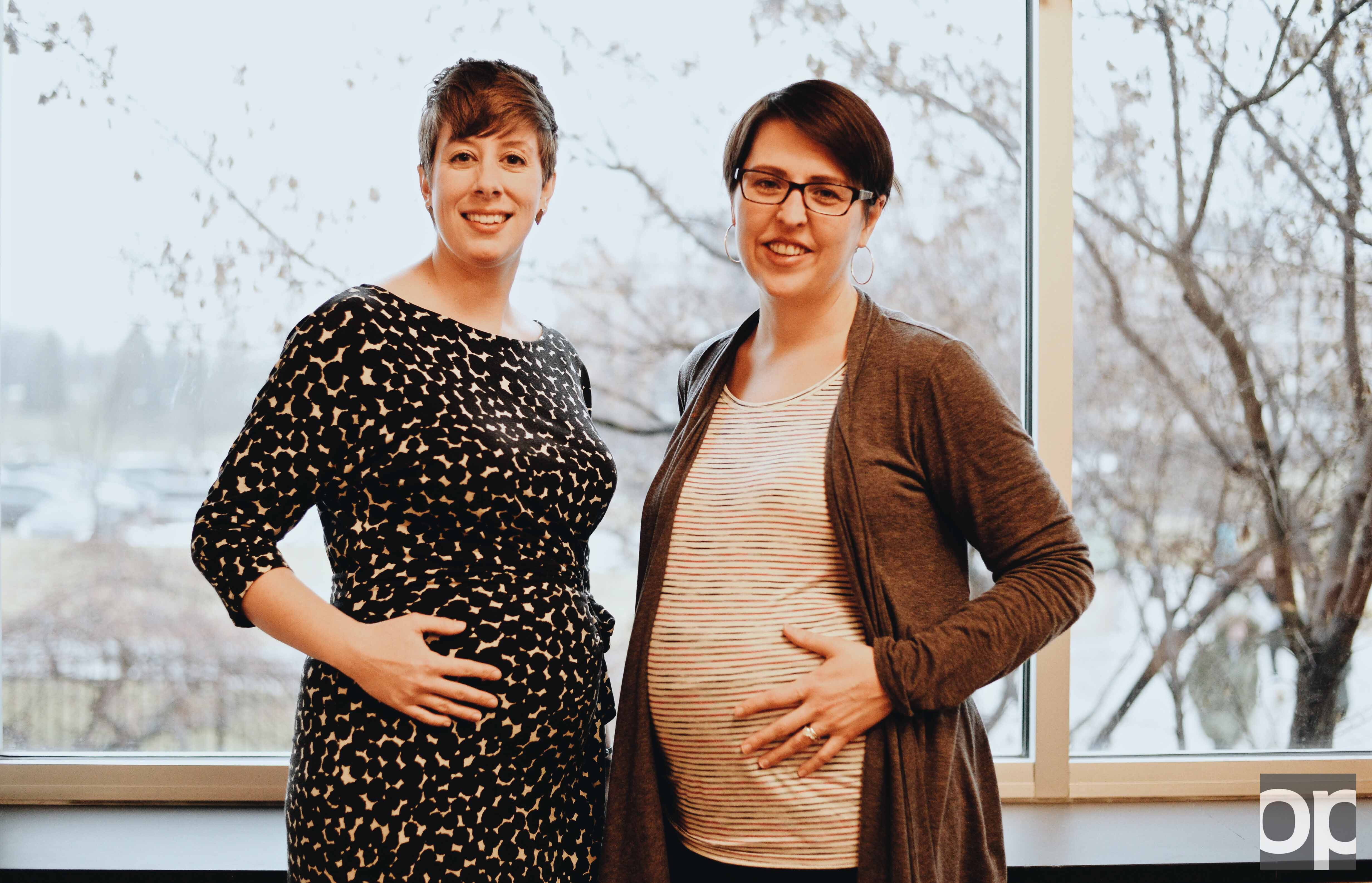 Faculty members Joanne Freed (left) and  Erin Meyers (right) will both be taking maternity leave soon.