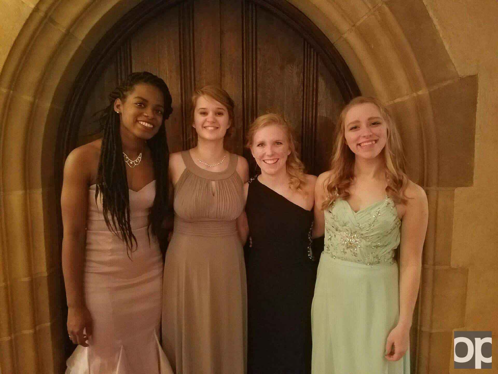Left to right: Brie Shines, Shelby Tankersley, Phoebe Wojciechowski and Lani Hennings attended the 43rd annual Meadow Brook Ball on Saturday, Jan. 28 at the Meadow Brook Hall.