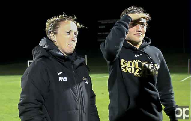 Margaret Saurin (left) served as Golden Grizzlies women's soccer head coach since March 6, 2014.