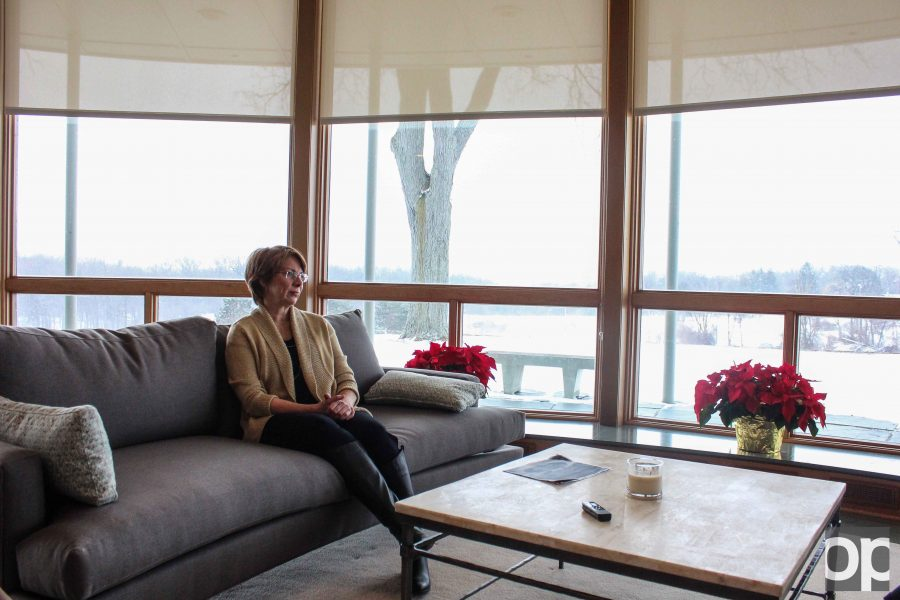 Dr. Alison Hynd sits in the living room of the Sunset Terrace. President George Hynd and his wife moved in to their new home on campus in early November 2015.
