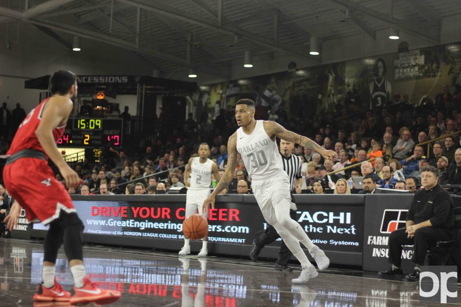 The Golden Grizzlies celebrated Senior Night with a 101-72 win over Youngstown State. Sherron Dorsey-Walker (30), the only senior on the team, gave a speech after the game.