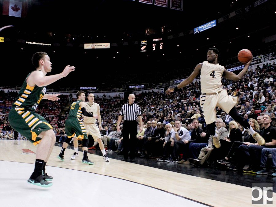Jalen Hayes saved the ball from going out of bounds at last season's championship game against Wright State at the Joe Louis Arena. The Golden Grizzlies lost 59-55.