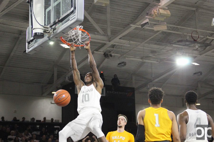 Isaiah Brock, with two dunks in a row, put the Golden Grizzlies up 78-65 with 1:50 left in the second half.