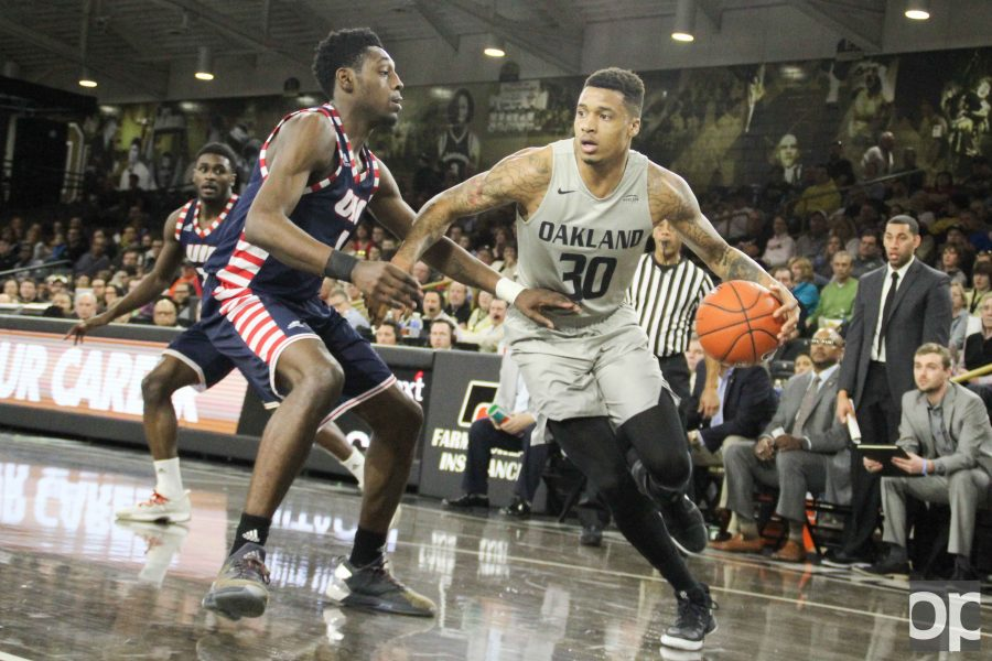 Sherron Dorsey-Walker had 17 points, seven assists and five rebounds against UIC in his second-to-last home game on Sunday, Feb. 19 at the O'rena.
