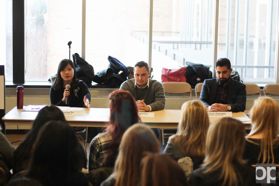 Dr. Chiaoning Su (far left) speaks at the journalism panel on Thursday, Feb. 9 about