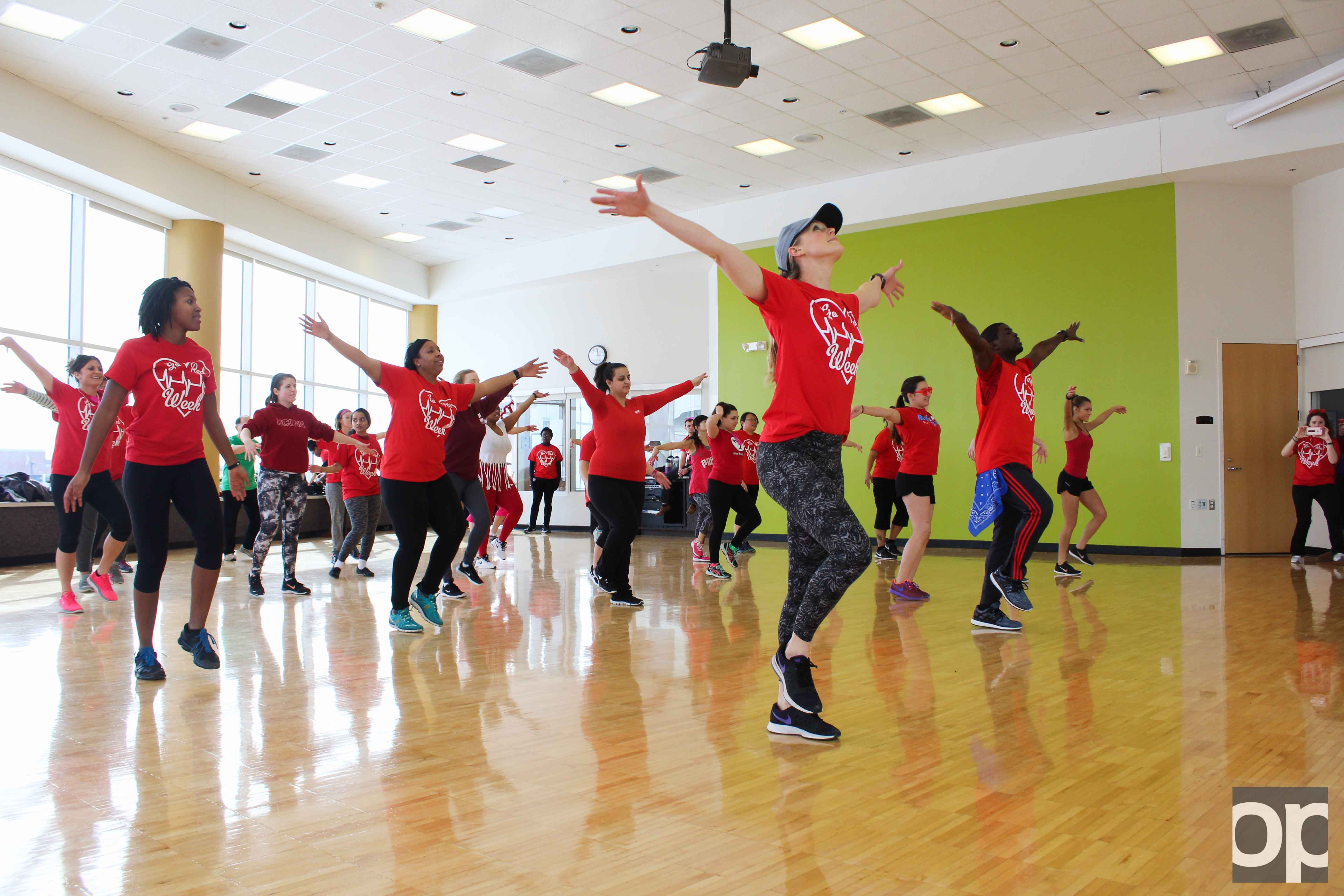 The OU Rec Well Center hosted a Red Dance Jam, in honor of Go Red Week, giving faculty and students an opportunity to be active and encourage heart health.