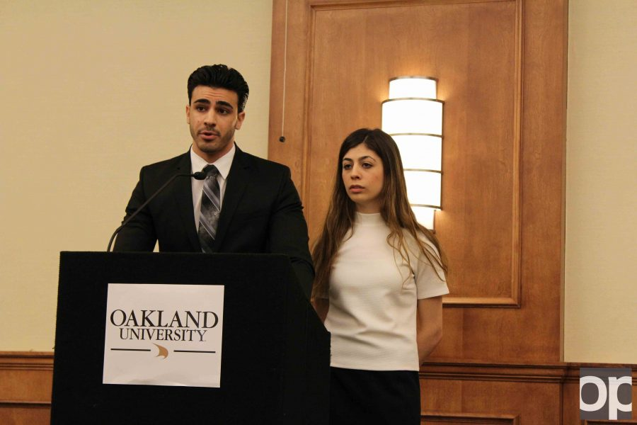 Presidential candidate Lena Mishack (right) and running mate Jousef Shkoukani discussed their platform and answered questions at the forum.
