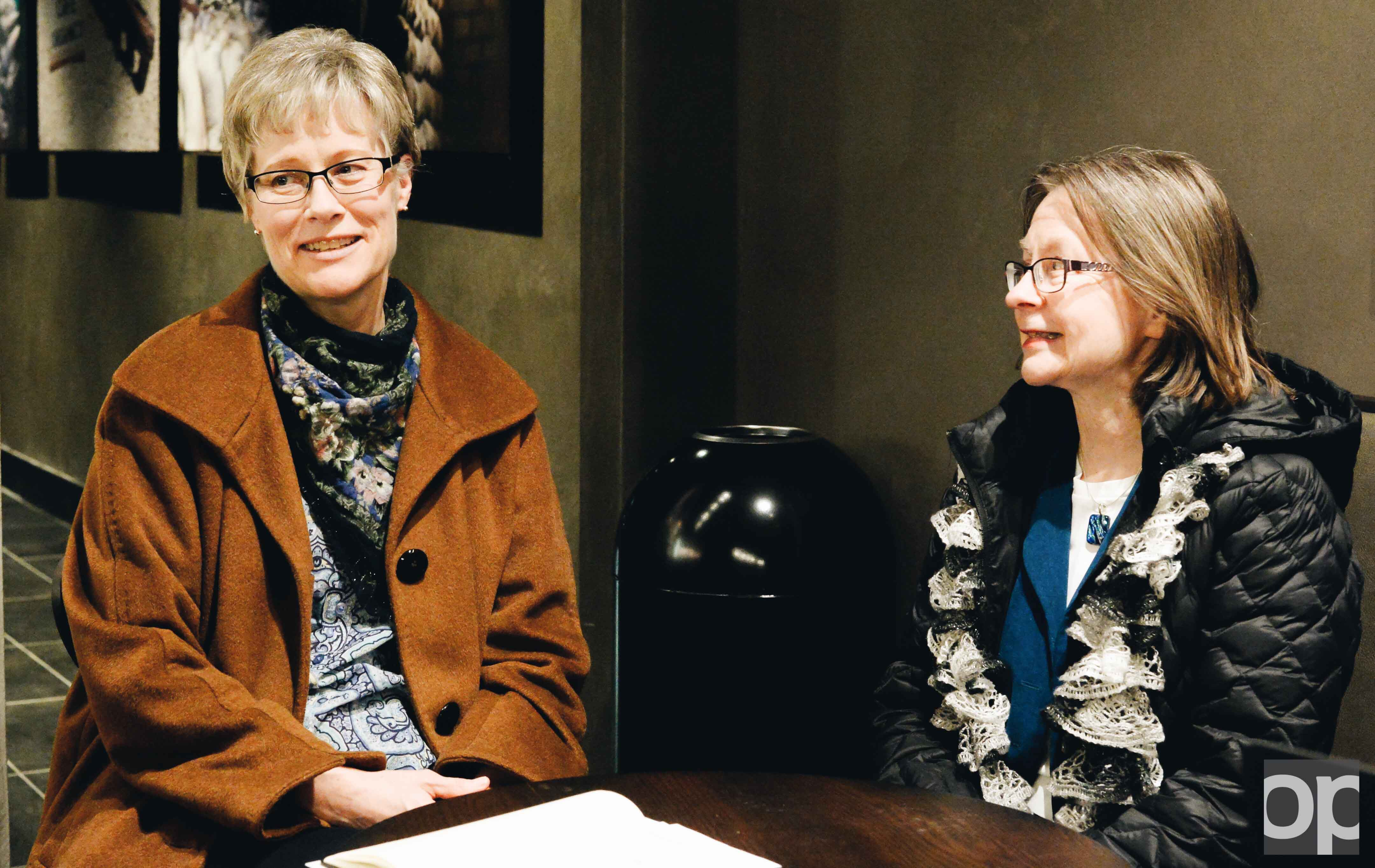 Jeni Carino (left) and Jo Ann Huebner are members of the American Business Women's Association.