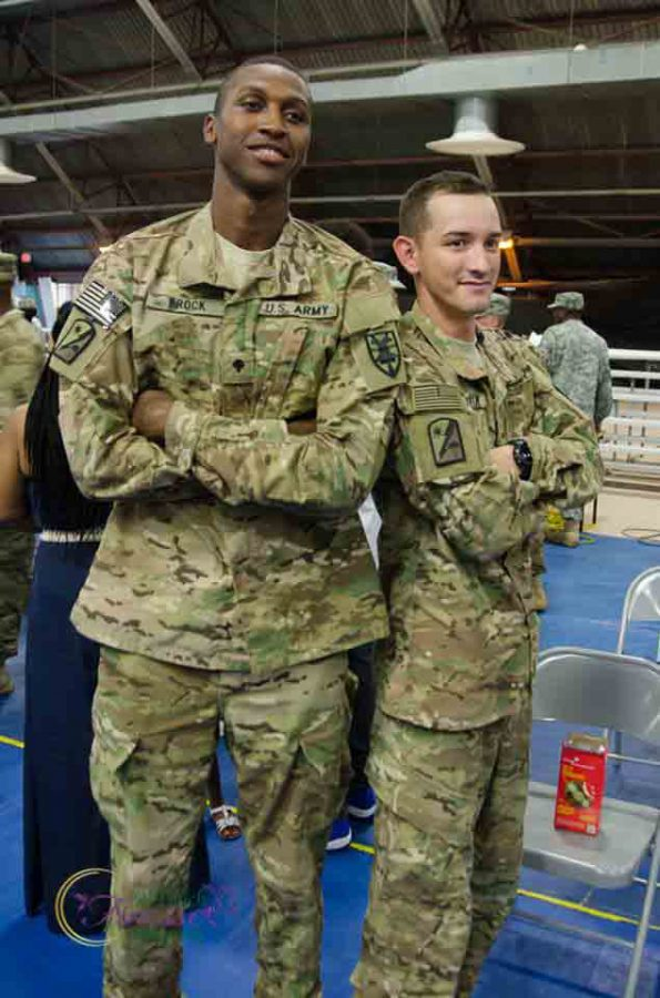 Isaiah Brock and Alexander Valdivia met in Fort Lee, Virginia while stationed together in 2012. Valdivia visited Brock on Sunday, March 19 to see him play in the second round of the NIT.