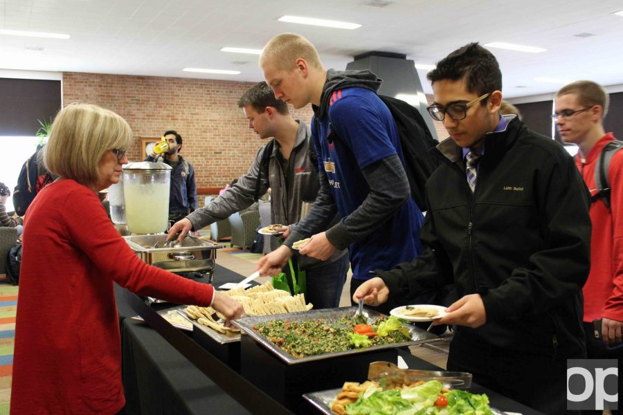 Students sample Arabic food on Monday, March 27 in Fireside Lounge as part of the weeklong celebration.