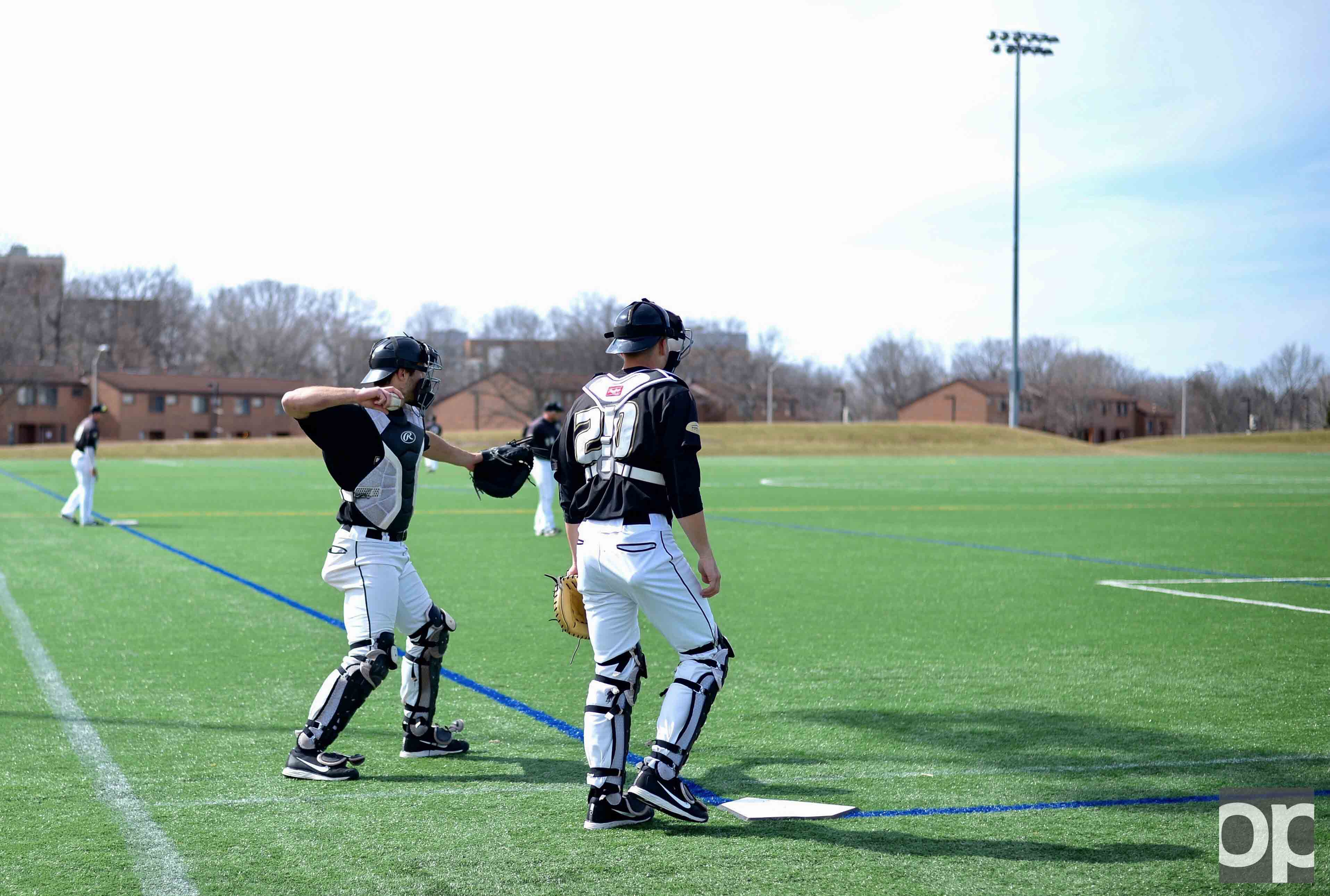 The Oakland baseball team practices in the upper fields in preparation for its Horizon League opener against Youngstown State on Friday, March 24.