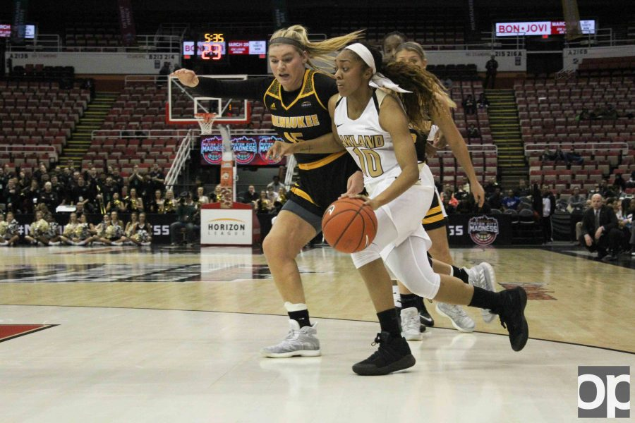 Taylor Jones led the Oakland women's basketball team with 16 points in the game against Milwaukee at the Joe Louis Arena Sunday, March 5.