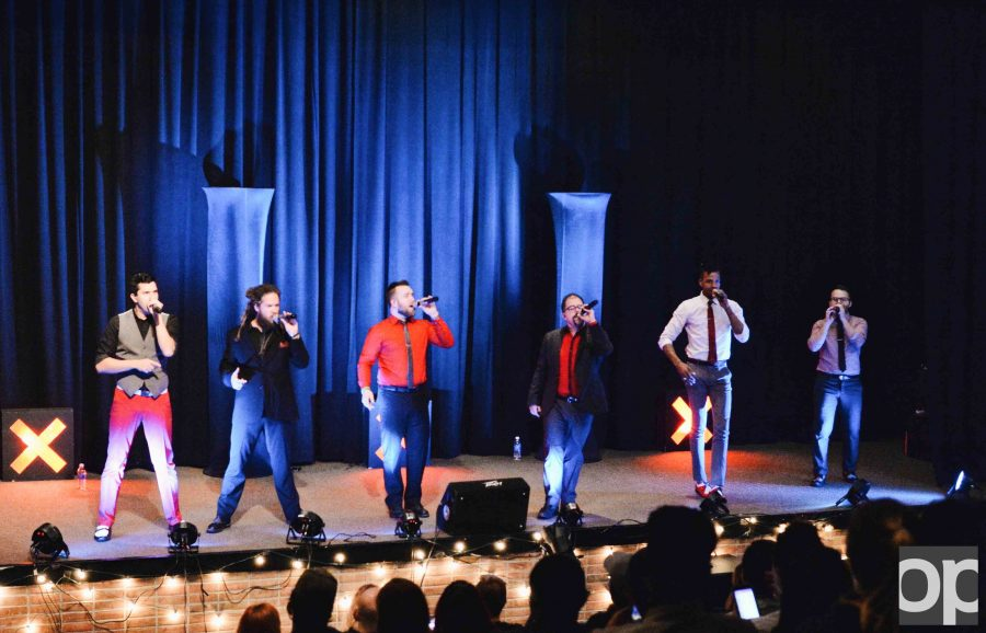 Emcees of the night, a-cappella group Six Appeal open the OU Has Talent show.