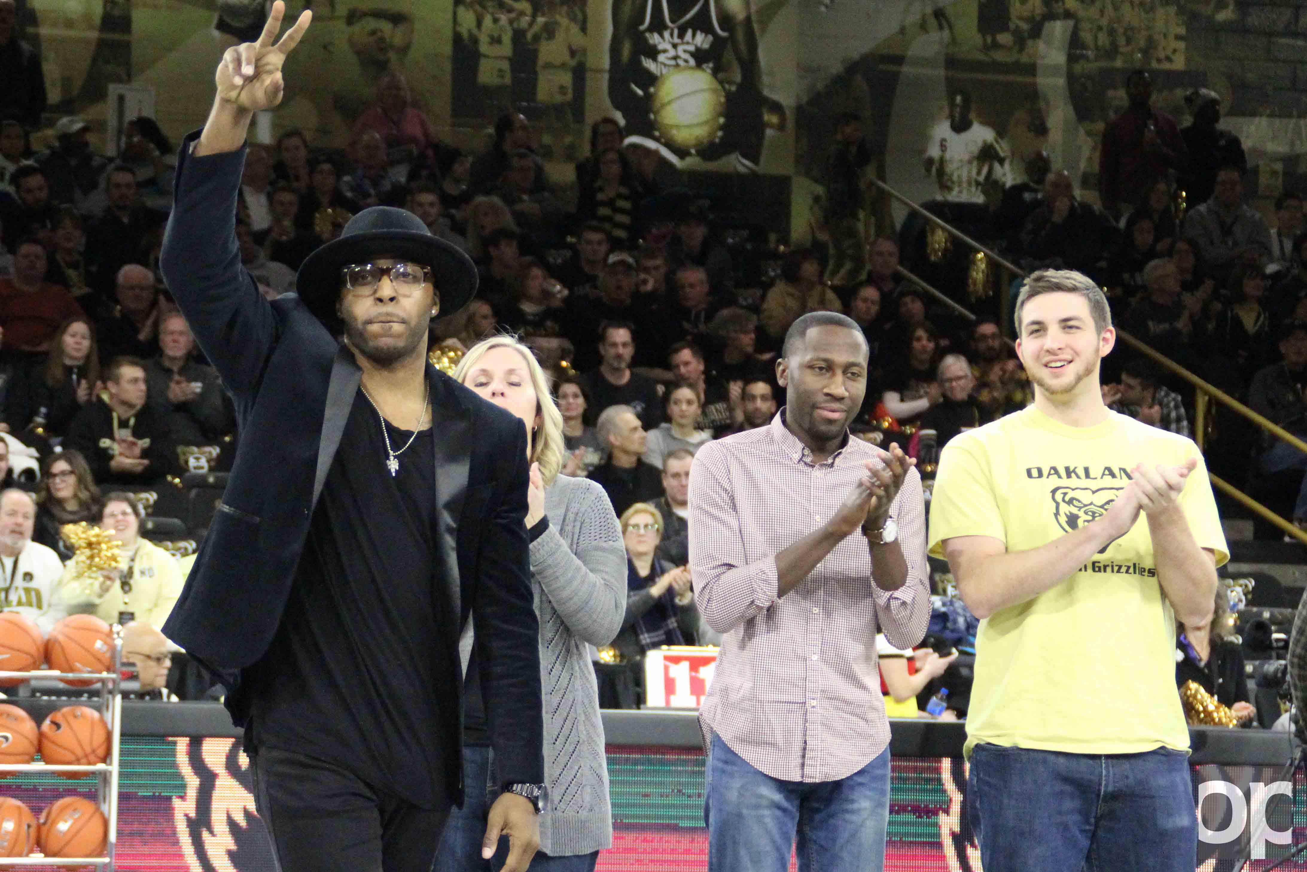 Men's basketball alum Reggie Hamilton (far left) was voted onto Oakland's All Half-Century Team in January.