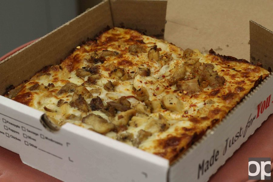The Bear Cave in the basement of the Oakland Center offers chicken pizza with halal chicken upon request.
