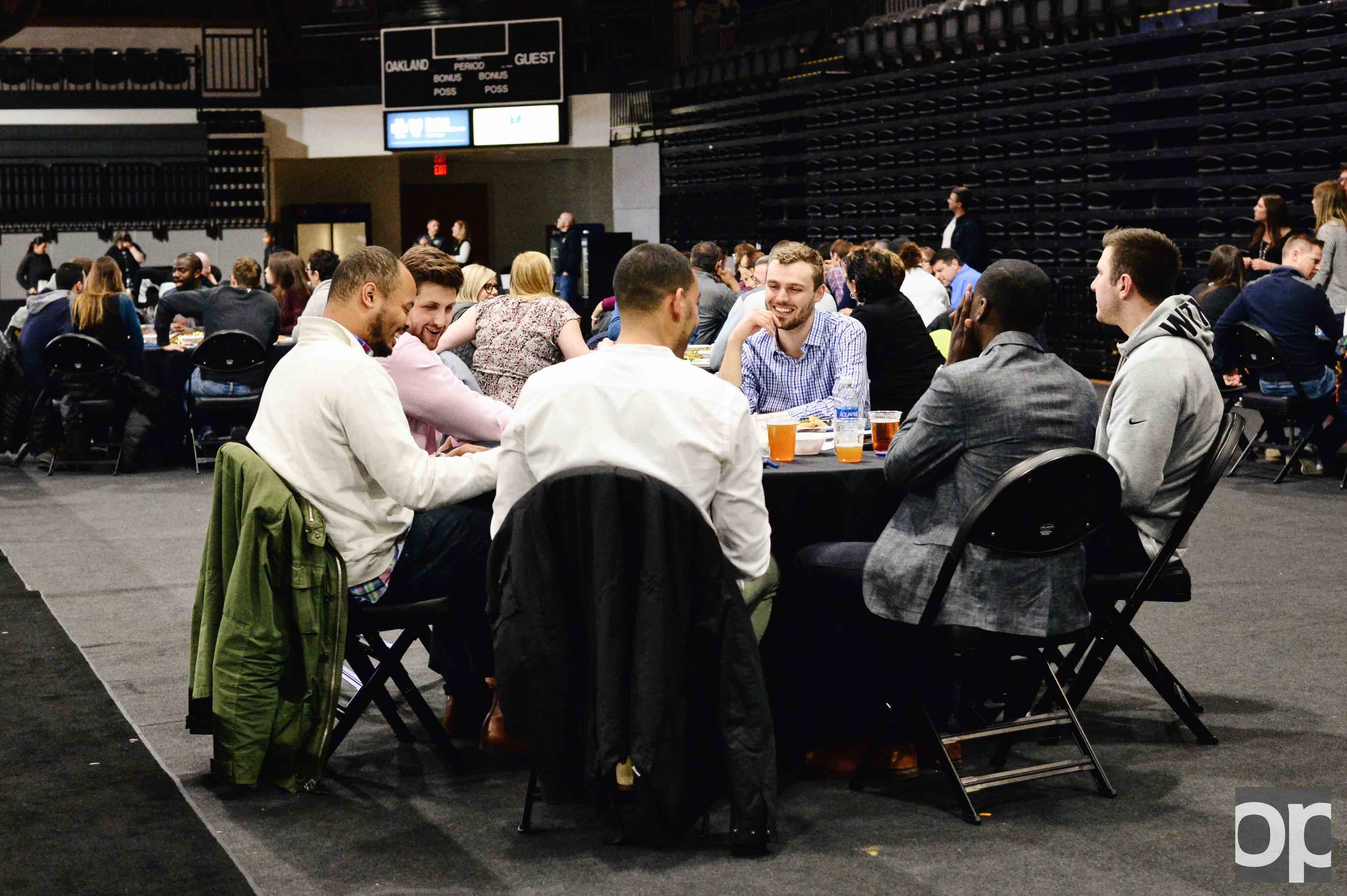Oakland University Athletics hosted its first-ever Trivia Night on Thursday, March 9 at the O'rena with 19 teams competing against each other.