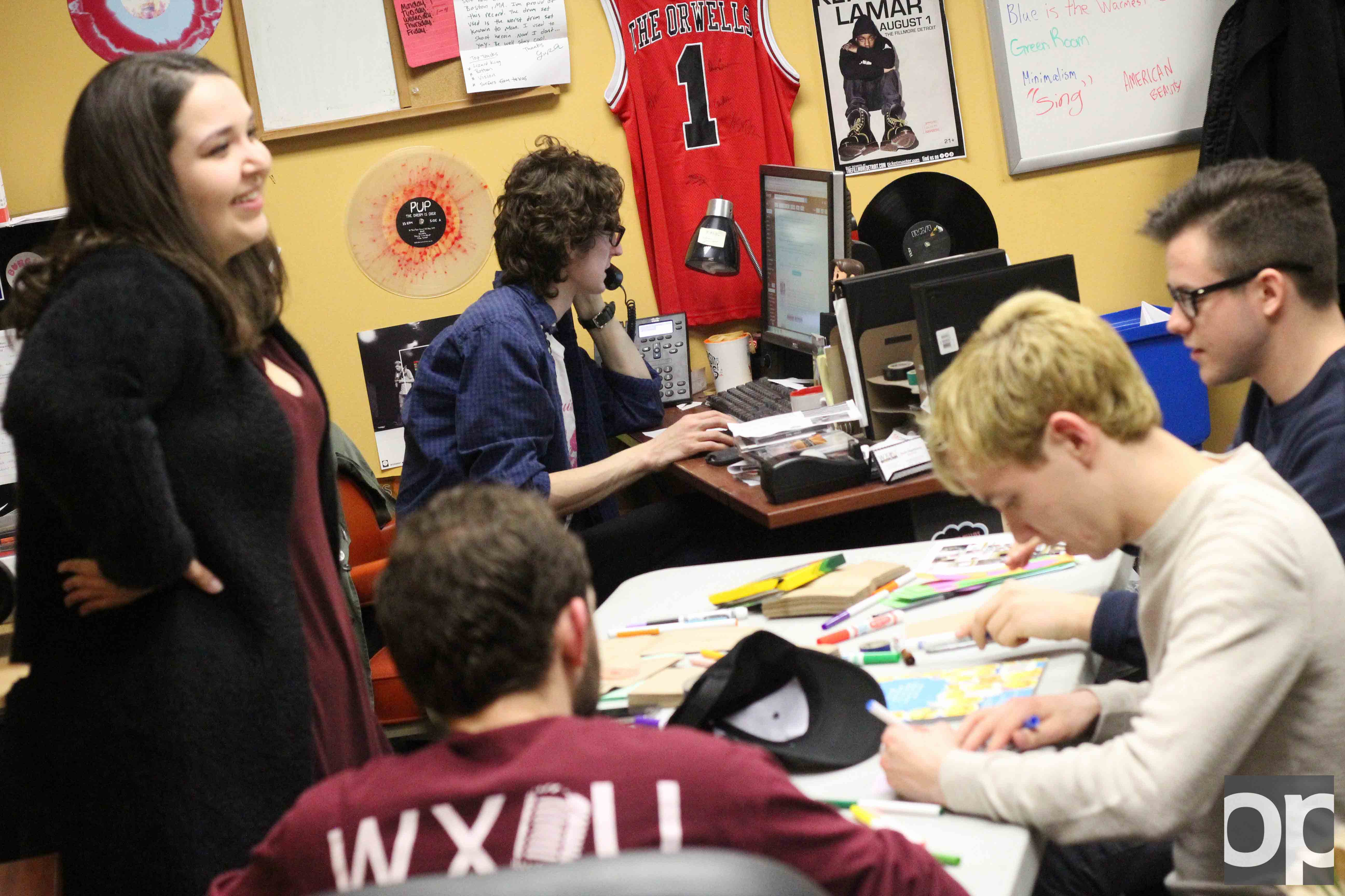WXOU employees participate in Kindness Day activities on February 14.