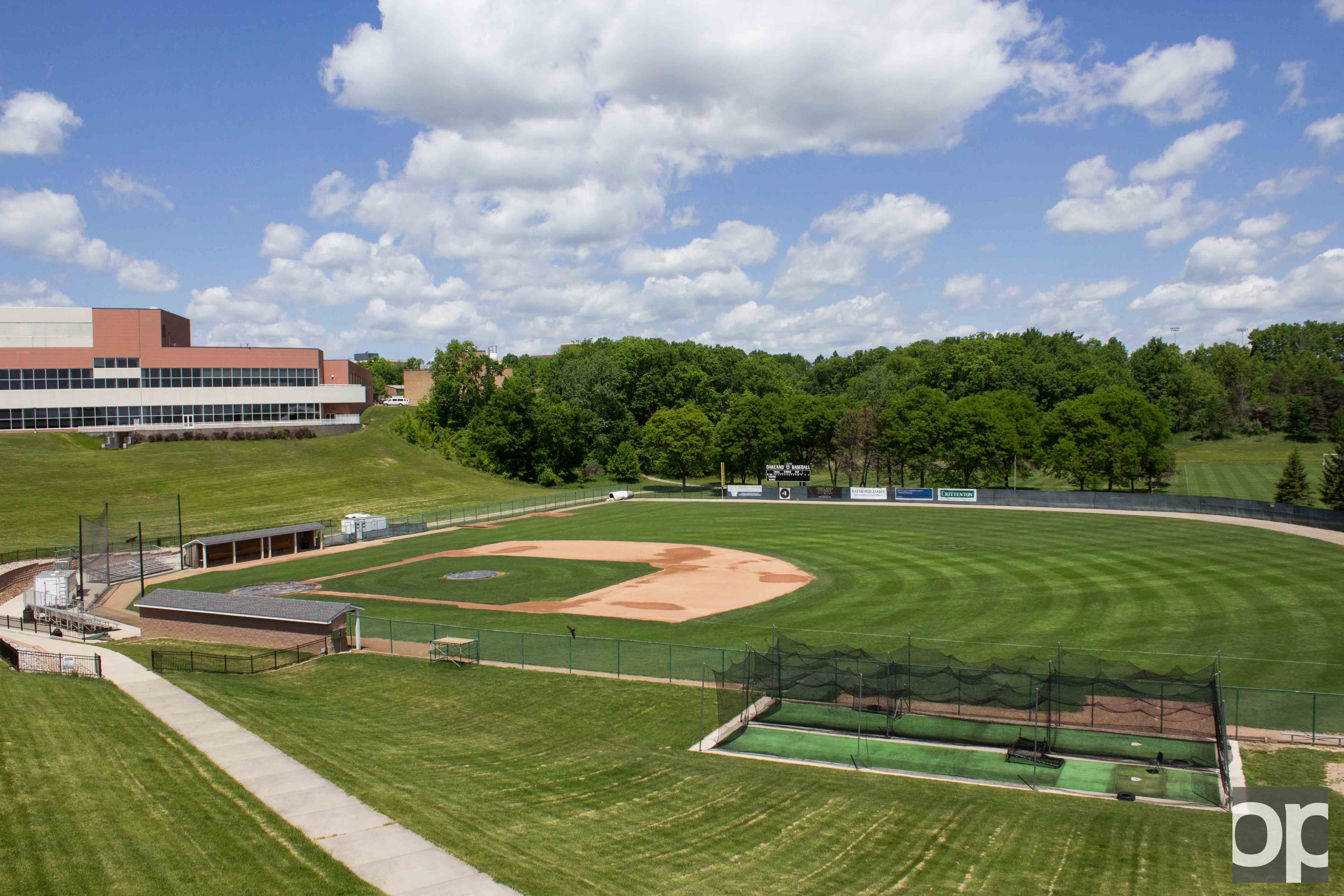 The Oakland Baseball Field is located in the lower fields, next to the Recreation Center and the soccer field.