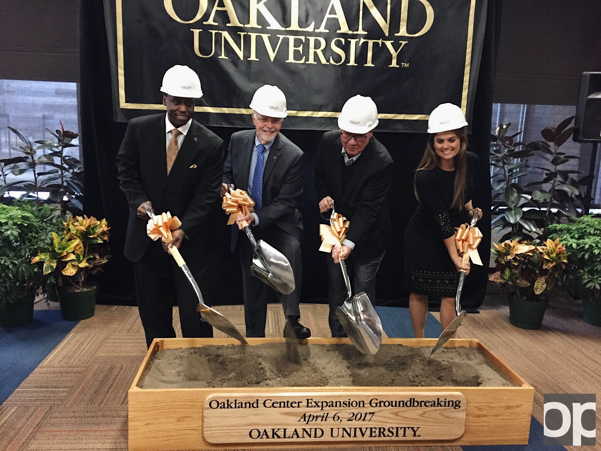 (Left to right): Vice President for Student Affairs Glenn McIntosh, President George Hynd, Vice Chair of the Board of Trustees W. David Tull and former OUSC President and 2014 Graduate Samantha Wolf