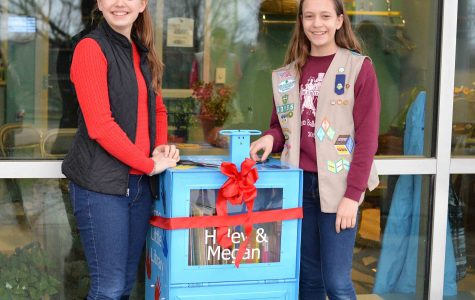 Middle school students open Free Little Library outside Pawley Hall