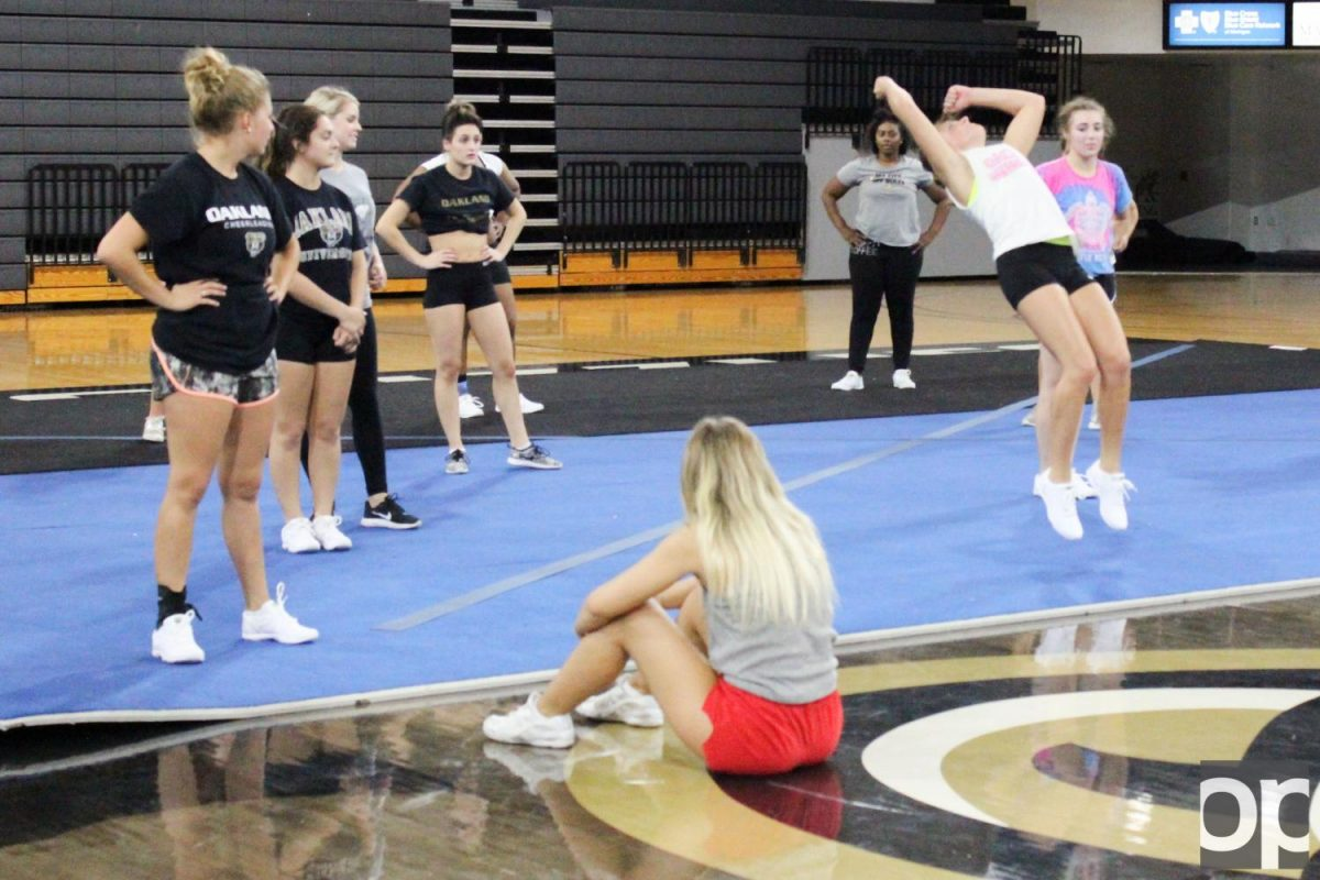 Cheerleaders and dancers practice together and learn from each other as the new Grizzly Motion.