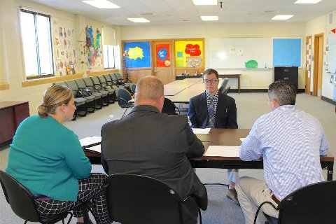Evan Hodges participates in a practice interview as part of the OUCARES Pre-Employment Skills Training.