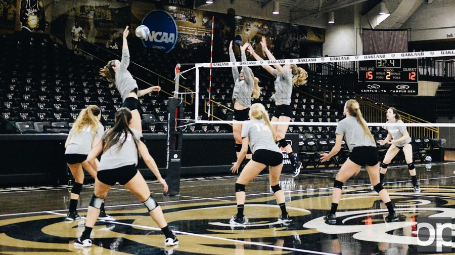 The+Womens+Volleyball+team+practices+hard+in+hopes+of+starting+another+win+streak.