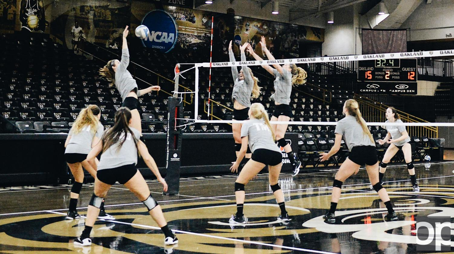 The Womens Volleyball team practices hard in hopes of starting another win streak.