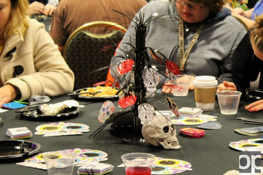 Sugarskulls+decorated+the+tables+as+students+celebrated+Day+of+the+Dead.