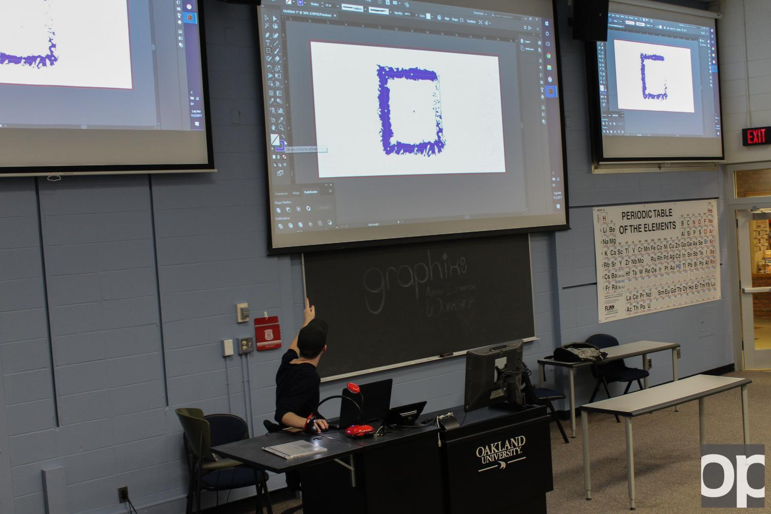 Graphix helps out other students by teaching them how to use different Adobe programs like Illustrator and InDesign.