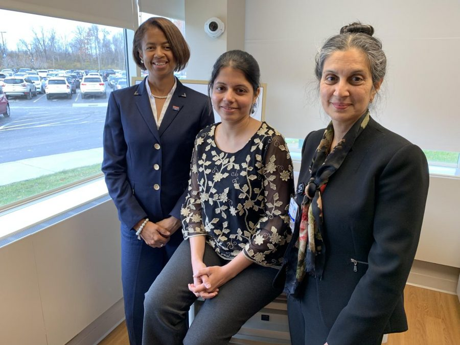 From left to right, Melanie Mayberry, D.D.S., Arati Kelekar, M.D. and Nelia Afonso, M.D., work together at the Clinical Skills Center on the interprofessional curriculum for OUWB and Detroit Mercy.