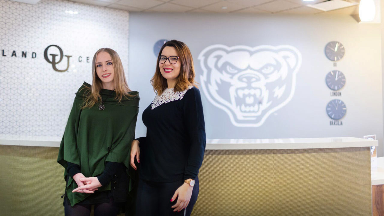 From left: Anna Szala and Rania Bellaaj join Oakland's Department of Psychology as part of the Fulbright scholarship program, which offers grants to students studying abroad.