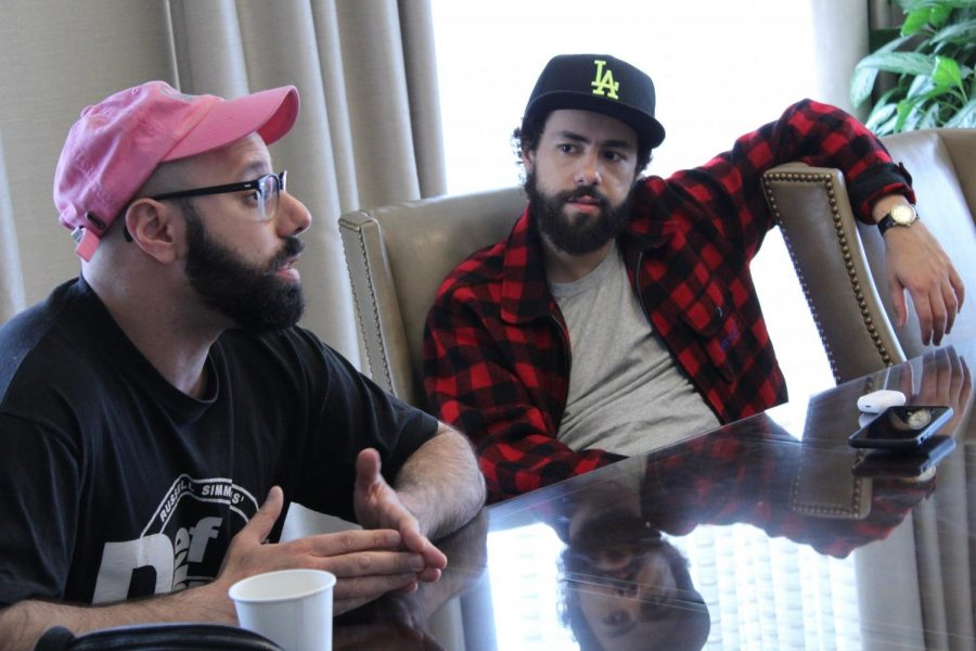 "From left: Comedians Dave Merheje and Ramy Youssef star in the new Hulu series ""Ramy."""