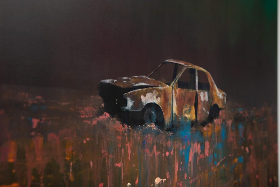 Nick Archer. White Car, 2018. Oil and acrylic on canvas, 58 x 45 inches.