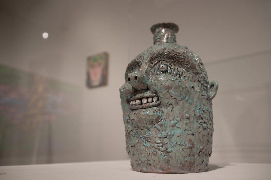 Rebecca Morgan. Milky Sky Jug, 2014. Terracotta, 13 x 8.5 x 8 inches.