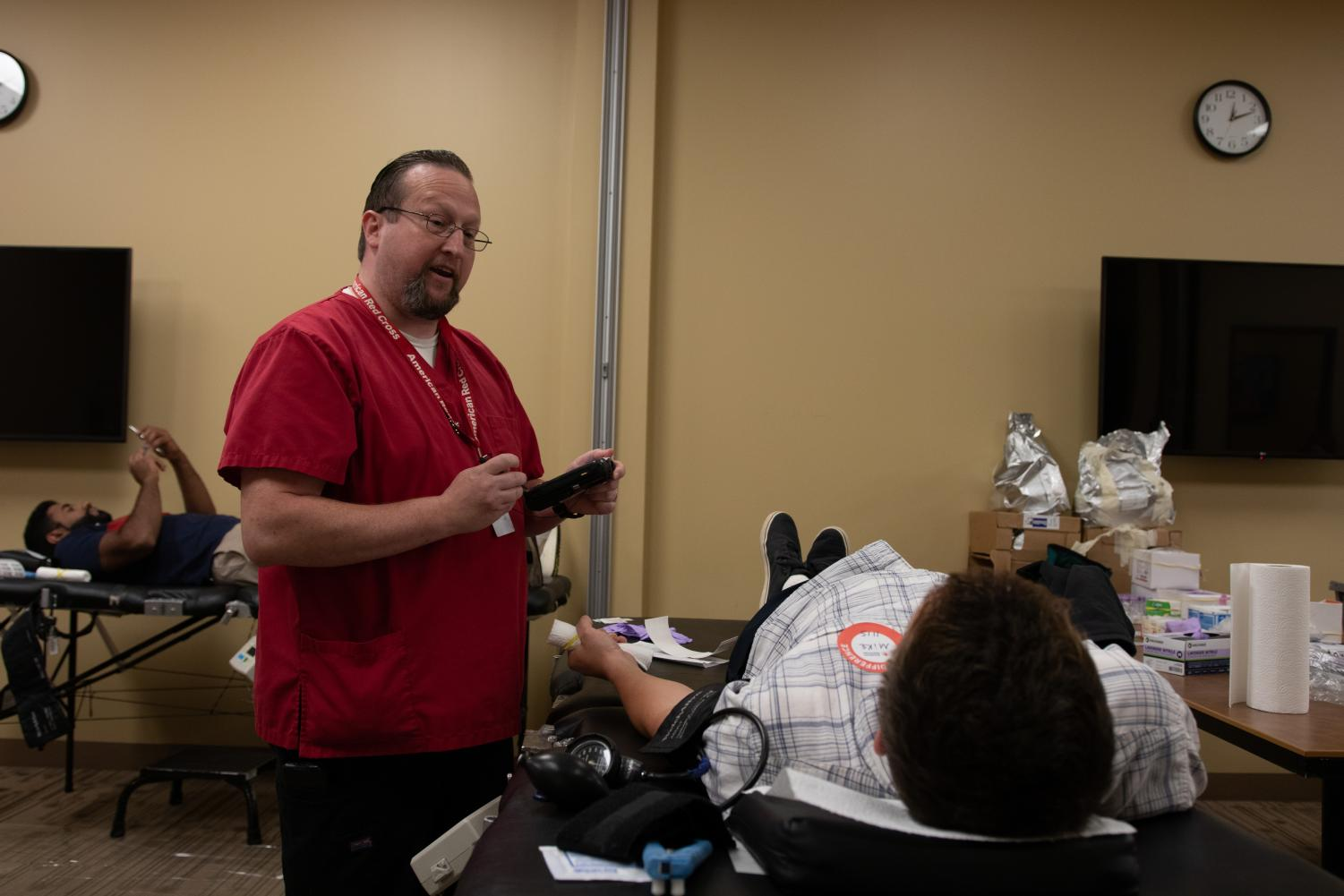Students and eligible donors give blood at the OSI Red Cross Blood Drive on Monday, Sept. 9.
