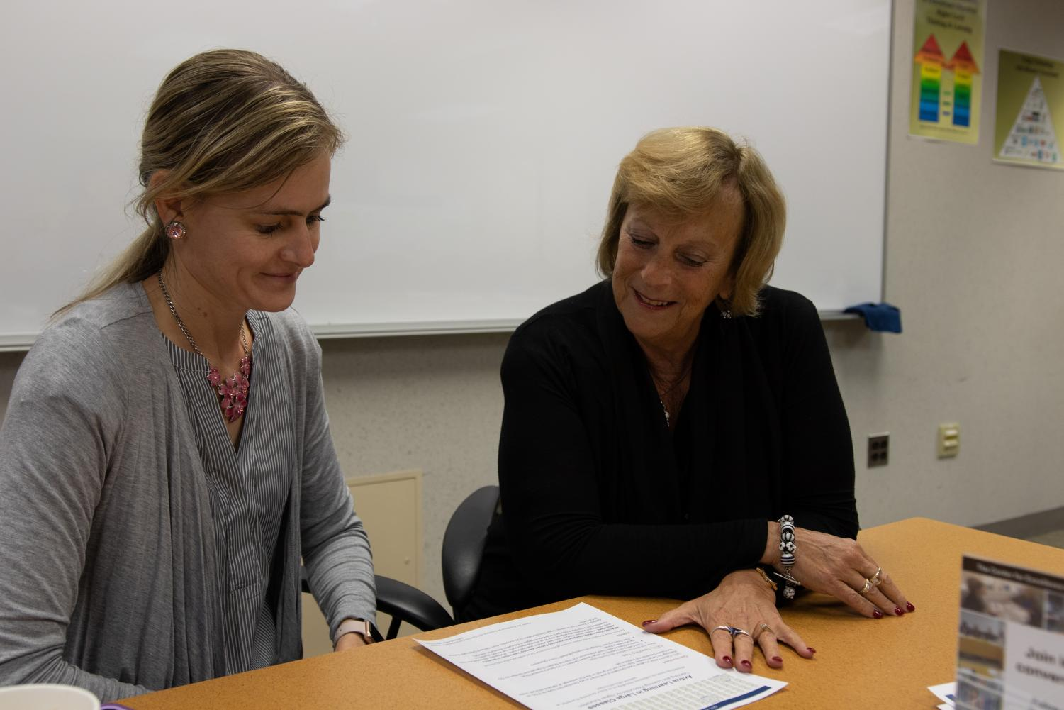 CETL Director Dr. Judith Ableser, right, works with Dr. Kathy Schaefer at a faculty meeting.