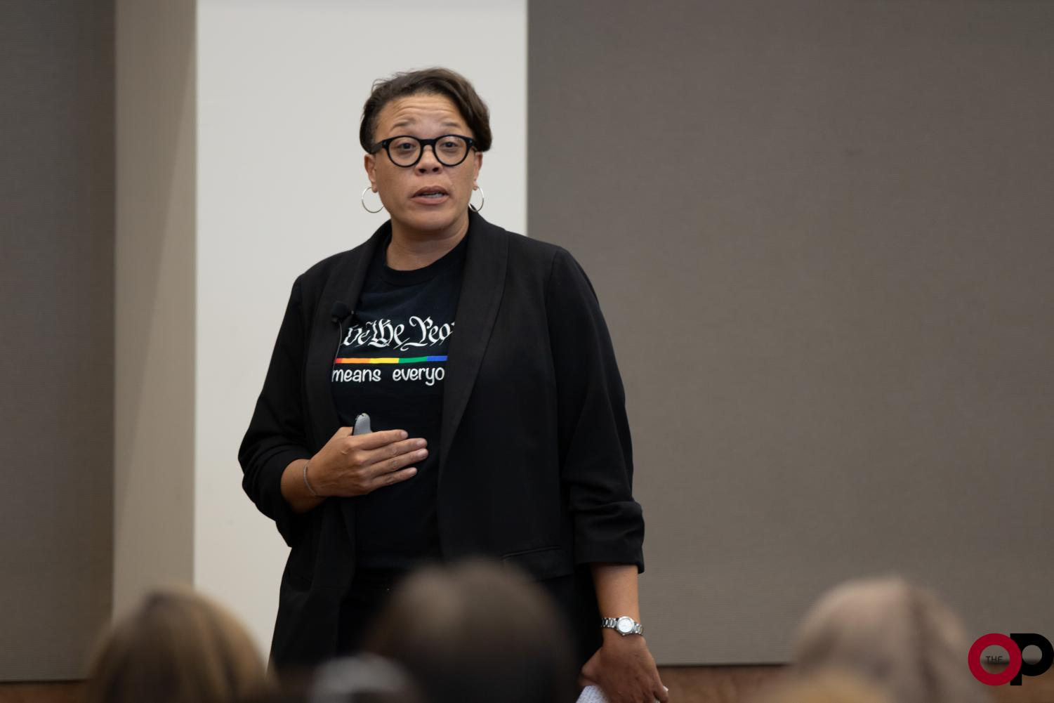 Trina Scott, VP of Diversity and Inclusion at Rocket Mortgage by Quicken Loans, speaks to students about moving ideas into words and actions in the modern workplace.