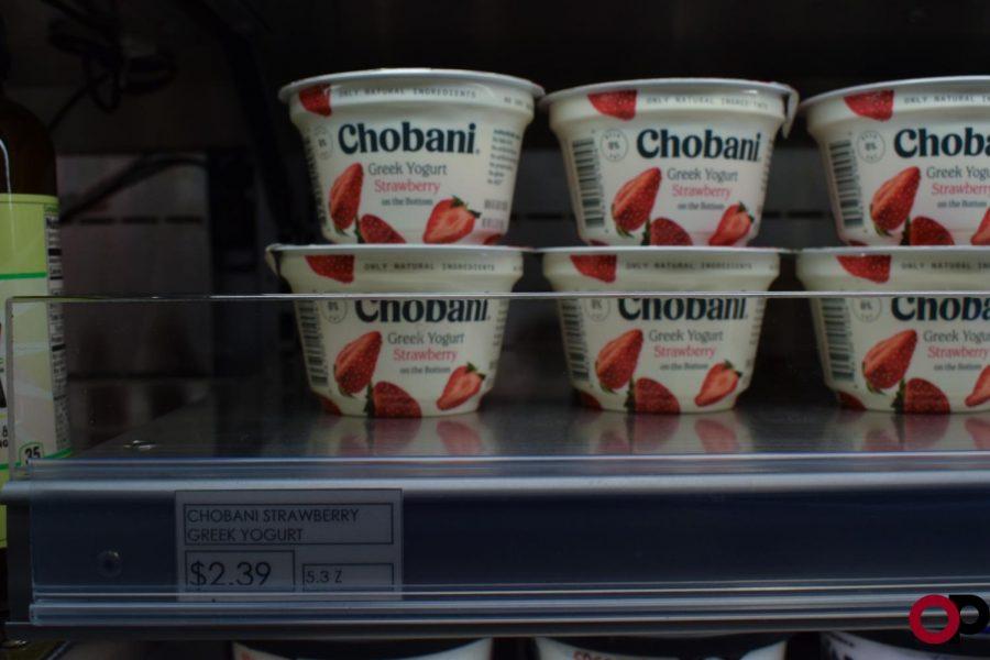 Chobani Greek yogurt prices on campus.