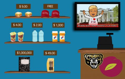 Plum Market sells overpriced food to broke students, a business plan endorsed by Donald Trump.