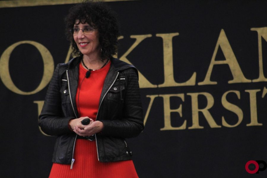 President Ora Hirsch Pescovitz delivers the second annual State of the University Address in the Oakland Center on Tuesday, Oct. 22.