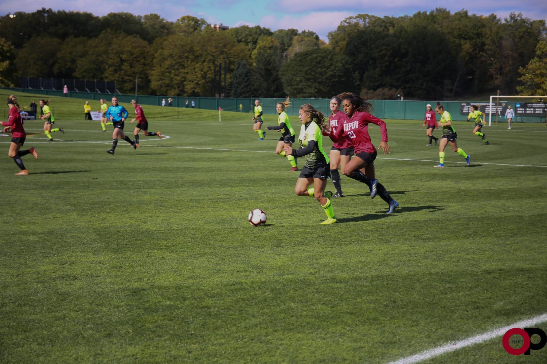Women's soccer defeats IUPUI 1-0 in a Horizon League Match during homecoming weekend.