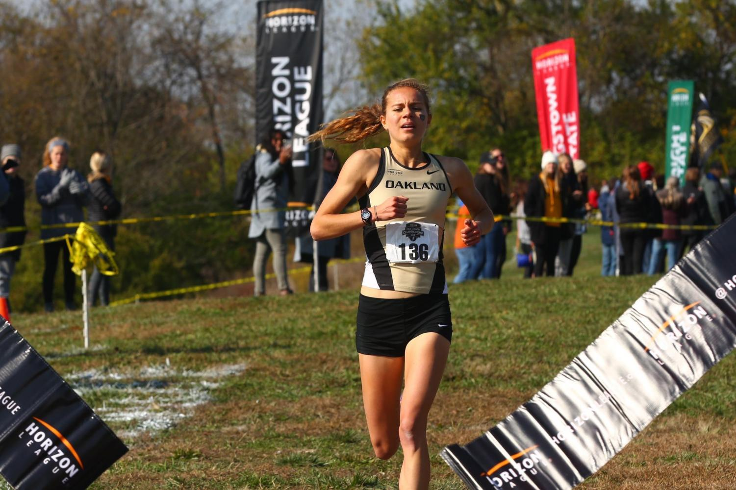 Cross-country runner Maggie Schneider is the first three-time Horizon League Champion in Oakland's history.