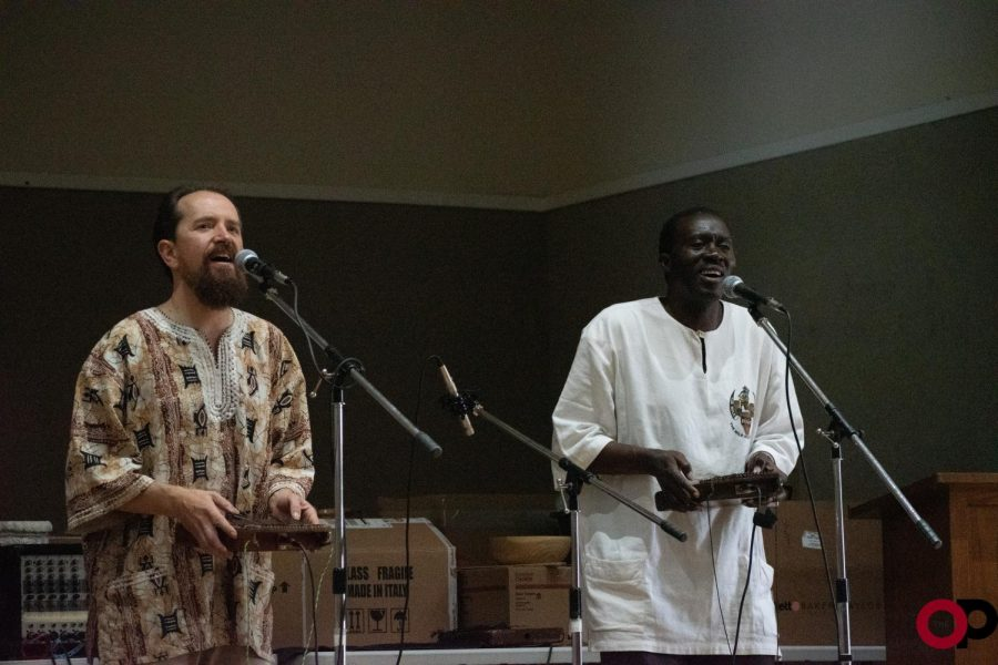 Ugandan artist Haruna Walusimbi (right) performs with world music and percussion professor Mark Stone at the Pontiac Creative Arts Center on Saturday, Nov. 2.