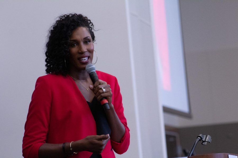 Three-time WNBA MVP and four-time Olympic Gold Medalist Lisa Leslie delivers the keynote address at the 28th annual Keeper of the Dream Scholarship Awards Celebration